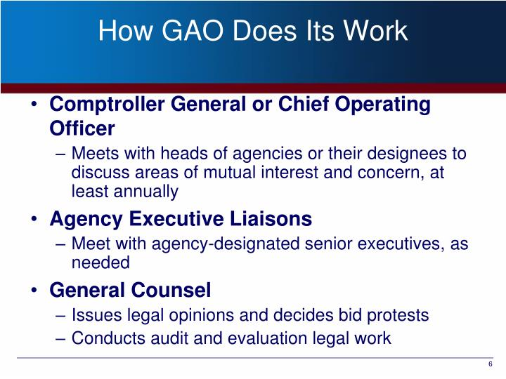 How GAO Does Its Work