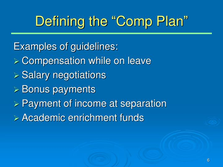"Defining the ""Comp Plan"""