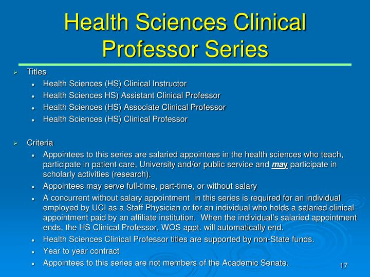 Health Sciences Clinical Professor Series