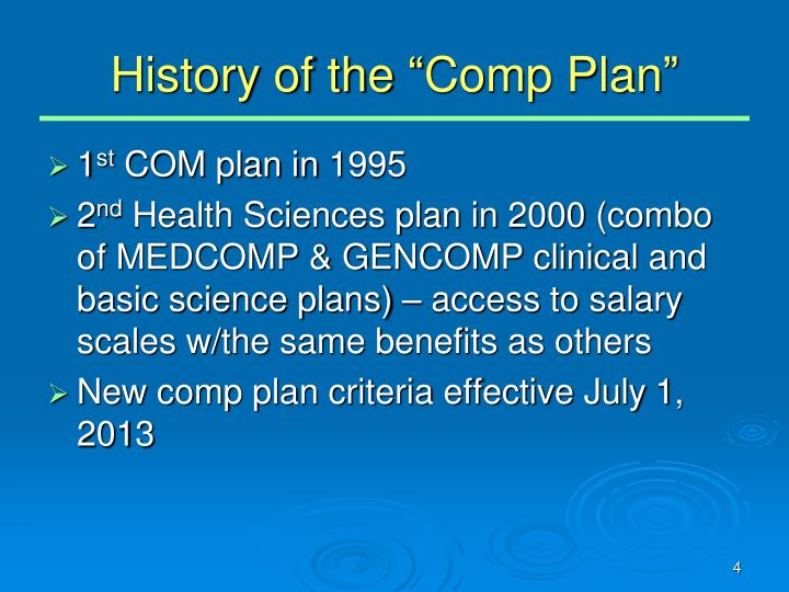 "History of the ""Comp Plan"""