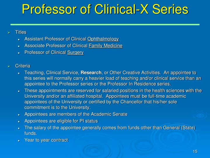 Professor of Clinical-X Series
