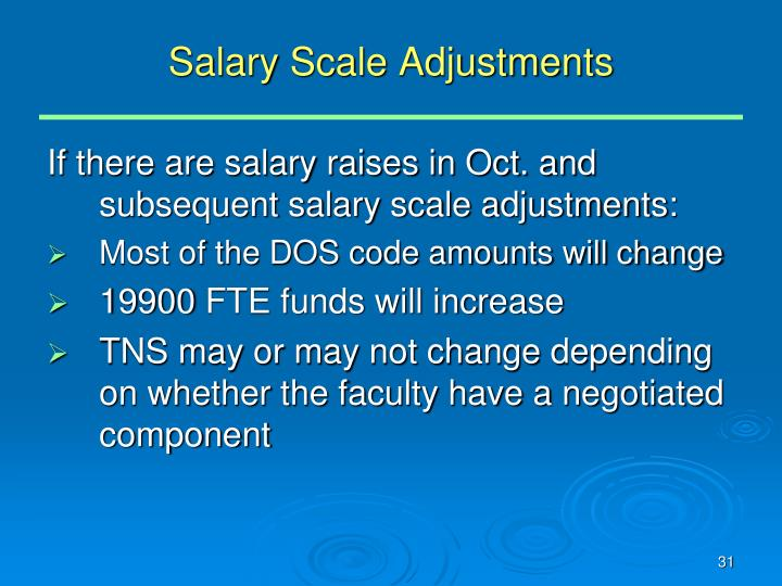 Salary Scale Adjustments
