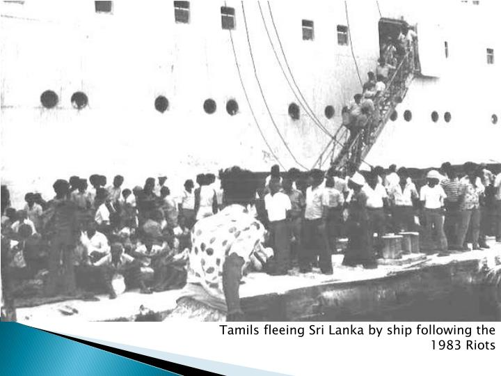 Tamils fleeing Sri Lanka by ship following the 1983 Riots