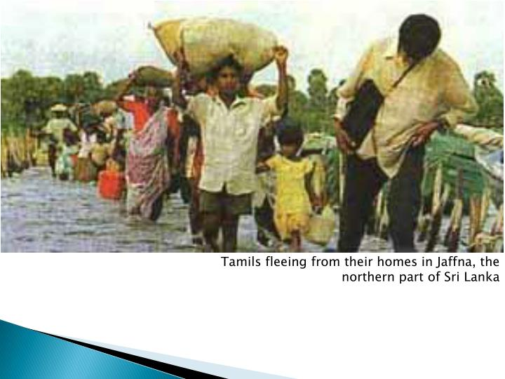 Tamils fleeing from their homes in Jaffna, the northern part of Sri Lanka
