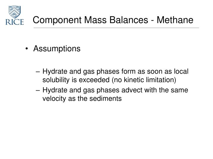 Component Mass Balances - Methane