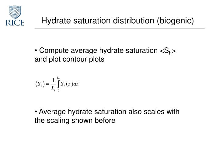 Hydrate saturation distribution (biogenic)