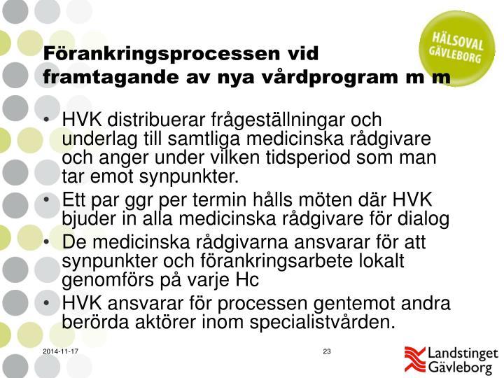 Förankringsprocessen vid framtagande av nya vårdprogram m m