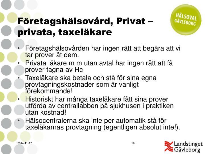 Företagshälsovård, Privat – privata, taxeläkare