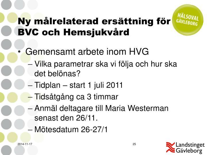 Ny målrelaterad ersättning för BVC och Hemsjukvård
