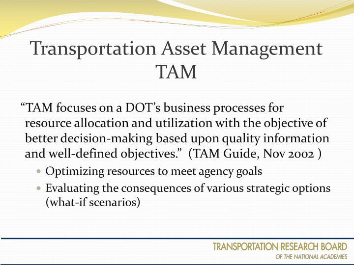 Transportation asset management tam