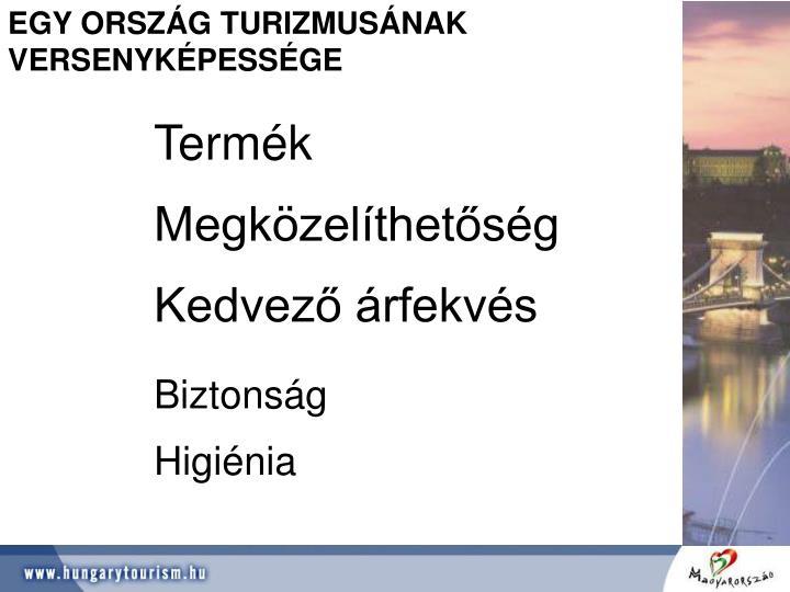 EGY ORSZÁG TURIZMUSÁNAK VERSENYKÉPESSÉGE