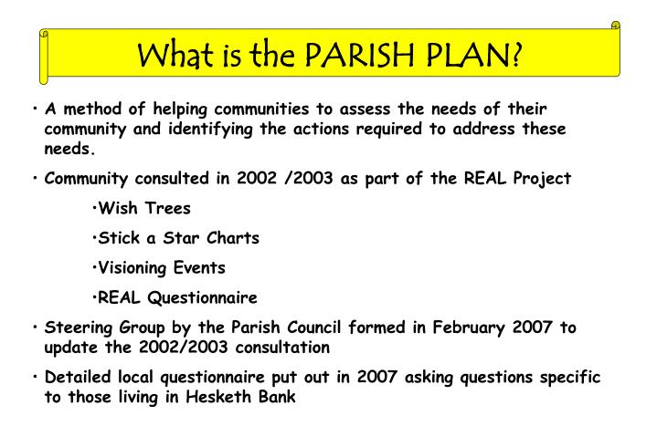 What is the PARISH PLAN?