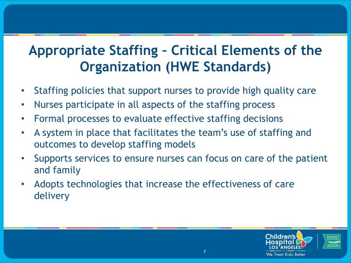 Appropriate Staffing – Critical Elements of the Organization (HWE Standards)