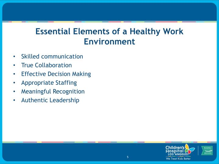 Essential Elements of a Healthy Work Environment