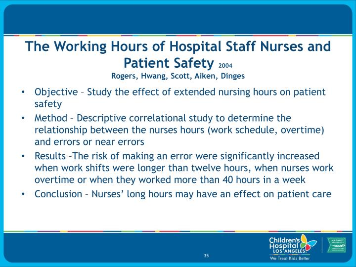 The Working Hours of Hospital Staff Nurses and Patient Safety
