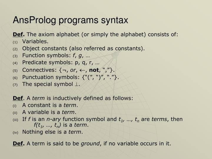 AnsProlog programs syntax