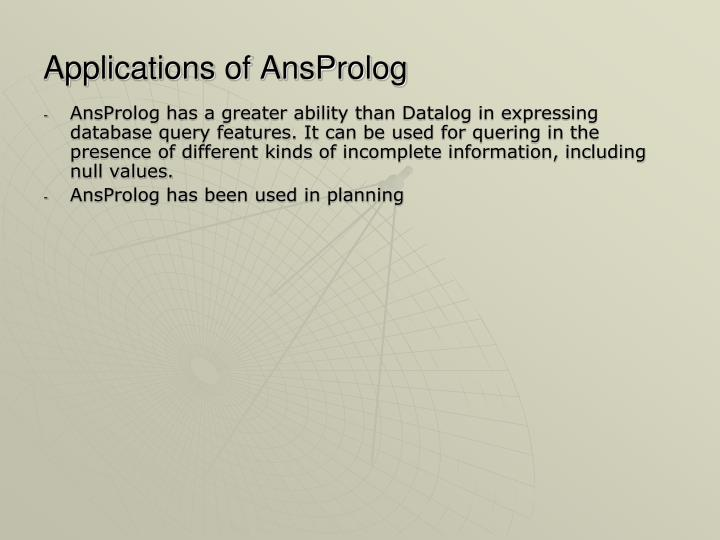 Applications of AnsProlog
