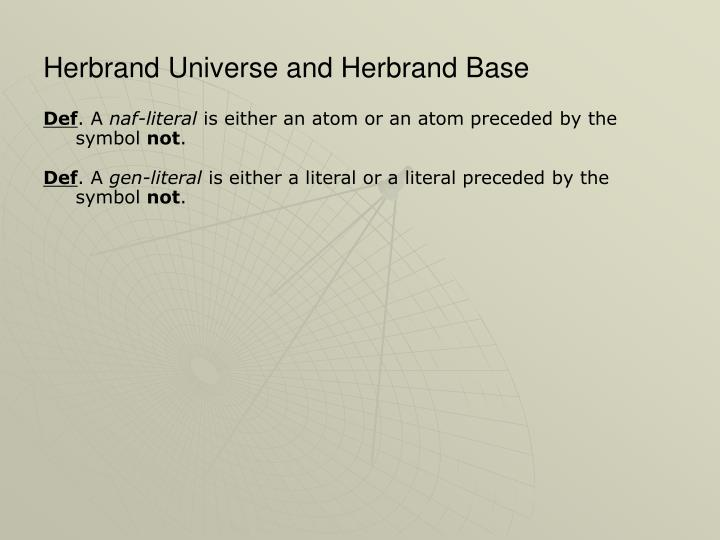 Herbrand Universe and Herbrand Base