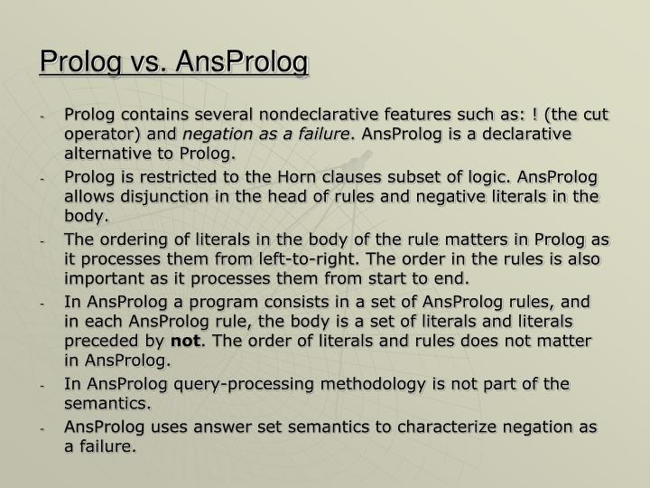 Prolog vs ansprolog