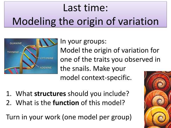 Last time modeling the origin of variation