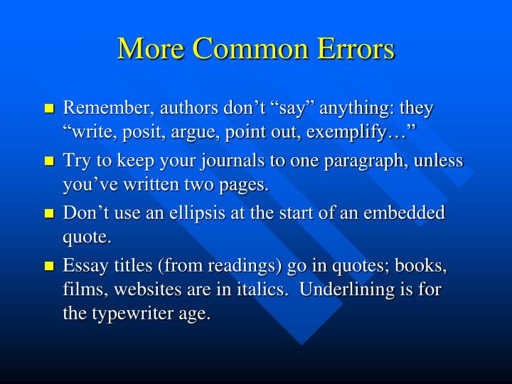 More Common Errors