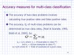 accuracy measures for multi class classification
