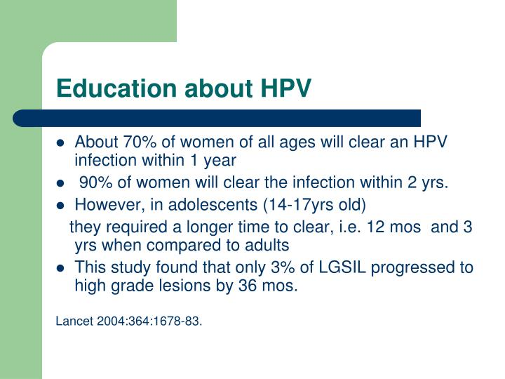 Education about HPV
