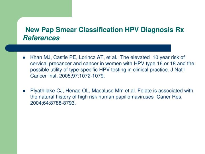 New Pap Smear Classification HPV Diagnosis Rx
