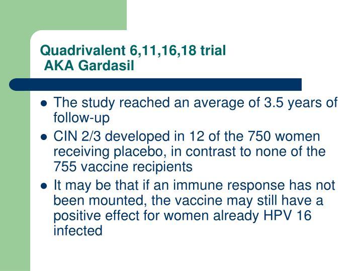 Quadrivalent 6,11,16,18 trial