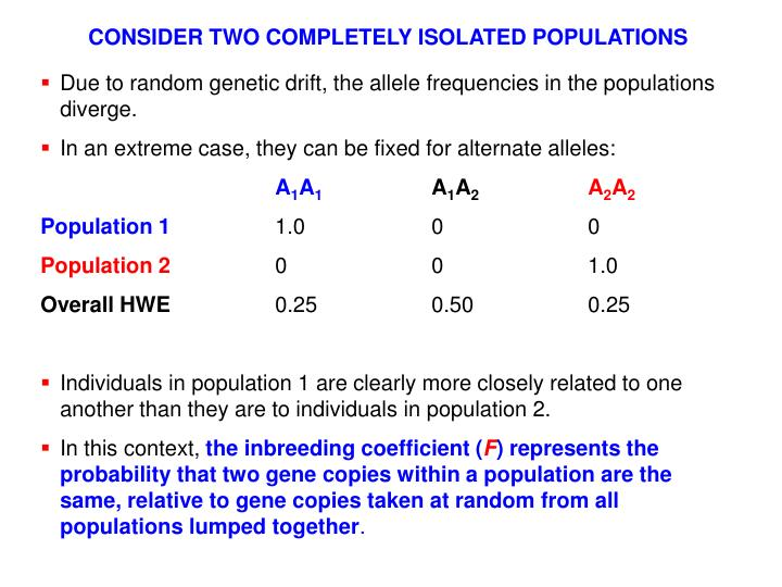 CONSIDER TWO COMPLETELY ISOLATED POPULATIONS