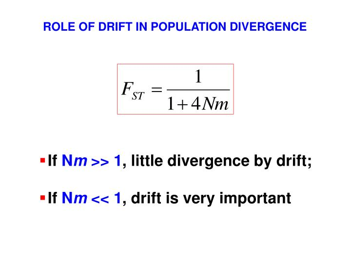 ROLE OF DRIFT IN POPULATION DIVERGENCE