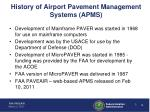 history of airport pavement management systems apms