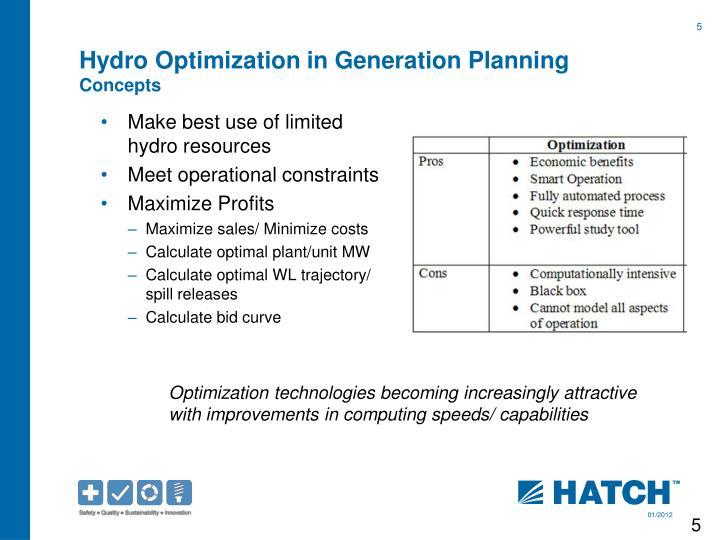 Hydro Optimization in Generation Planning