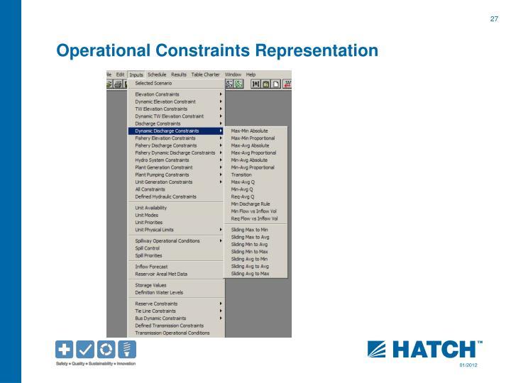 Operational Constraints Representation