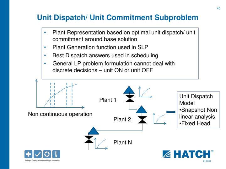 Unit Dispatch/ Unit Commitment