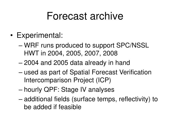 Forecast archive