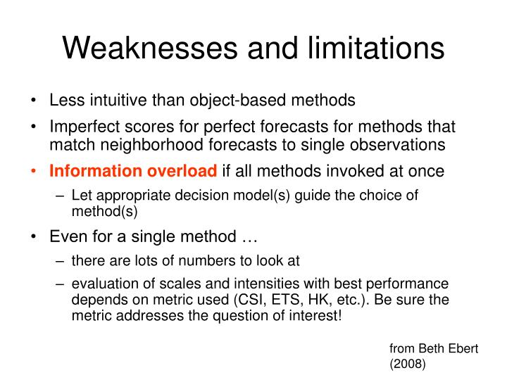 Weaknesses and limitations