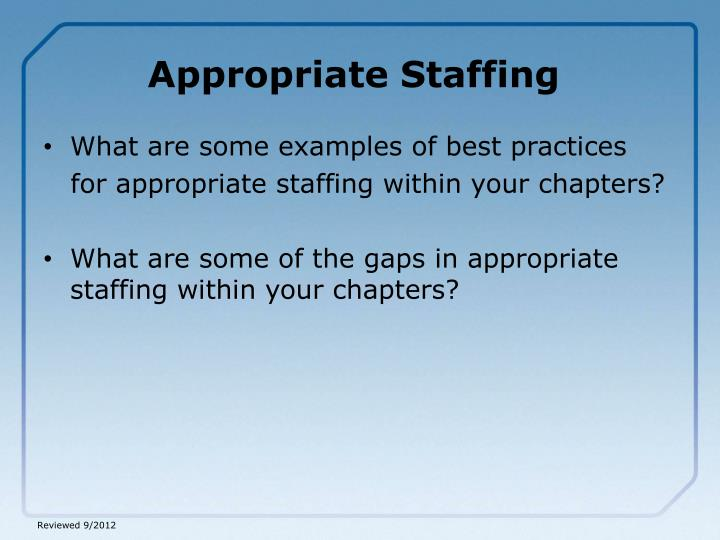 Appropriate Staffing