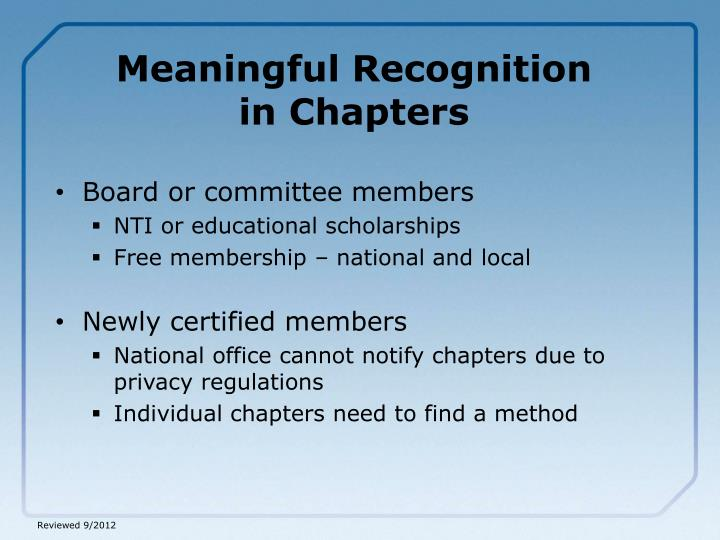 Meaningful Recognition