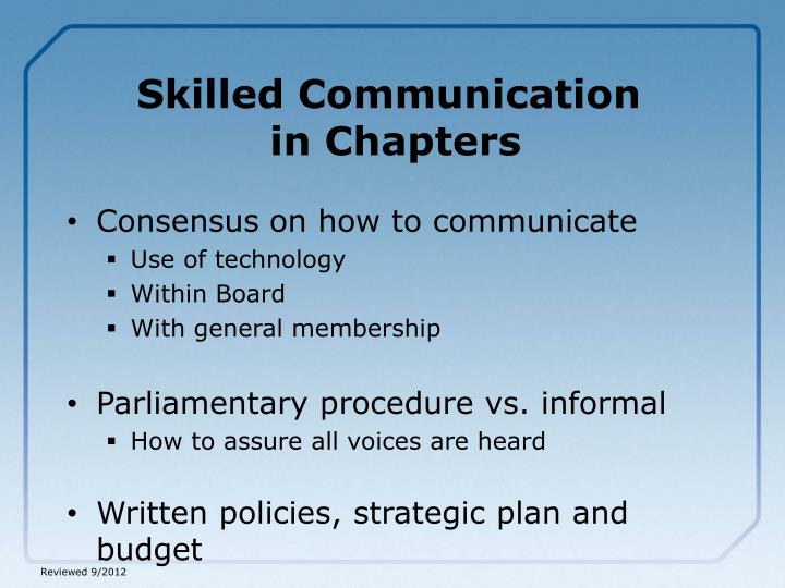 Skilled Communication