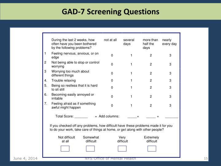 GAD-7 Screening Questions