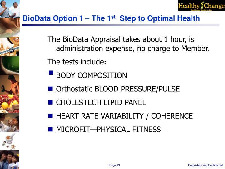 BioData Option 1 – The 1