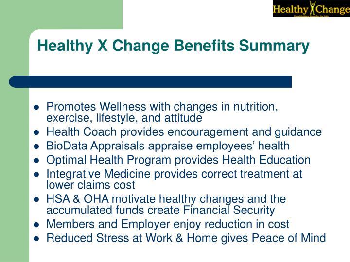 Healthy X Change Benefits Summary