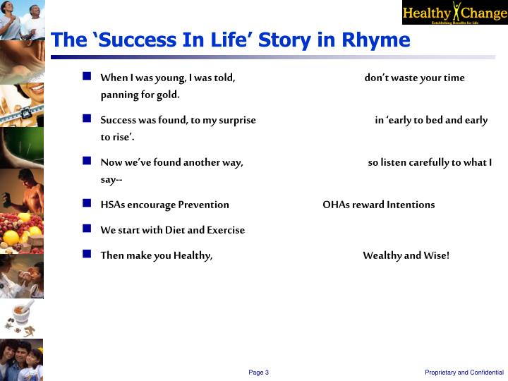 The success in life story in rhyme