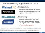 data warehousing applications on gpus