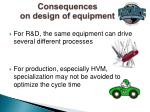 consequences on design of equipment