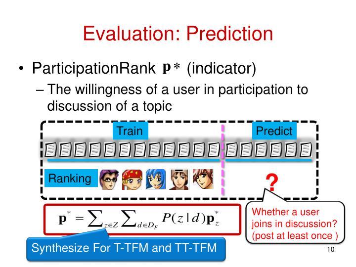 Evaluation: Prediction