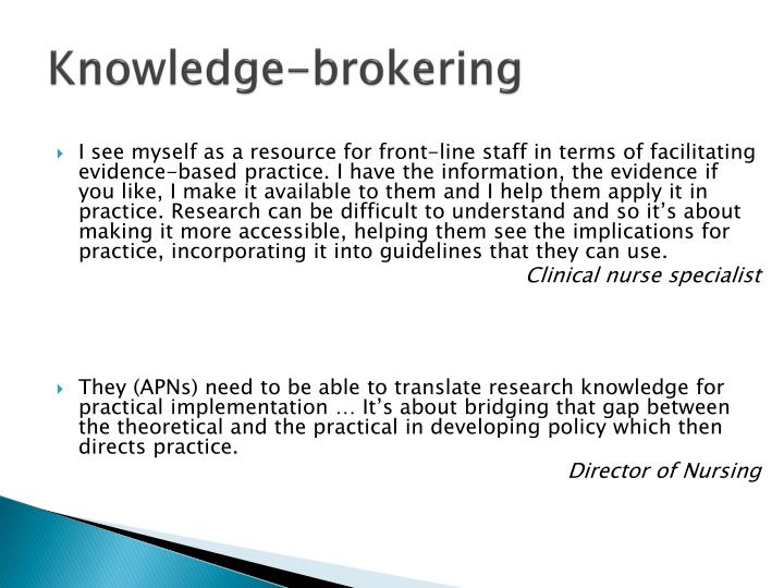 Knowledge-brokering