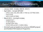 current wg78 sc214 achievements