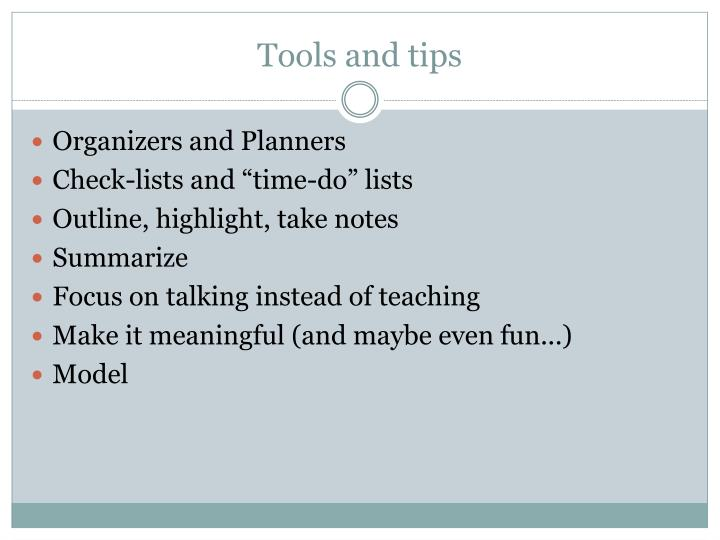 Tools and tips